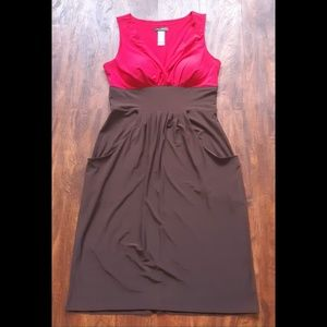 Bisou Bisou pink brown midi dress